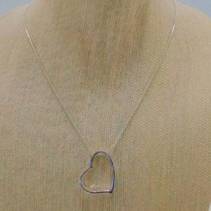 Silvertone Heart Pendant Necklace silvertone chain